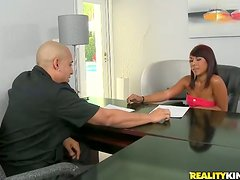 Redhead siren comes in the office and gifts as with some magic
