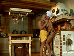 Sex addicted Angel Dark gets nailed in a kitchen
