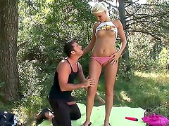 Sweet teen cutie Pink Pussy masturbates in a forest when a hot stud interrupts her.