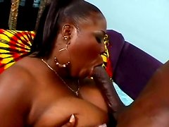 Thick ebony woman Sabrina Love gives head and gets fucked hard