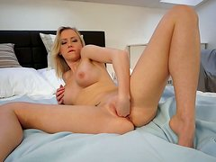 Slick pussy of blonde model Victoria is extremely stretched in a hot porn clip