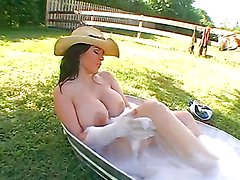 Chick with insane huge tits and ass gets fucked outdoors