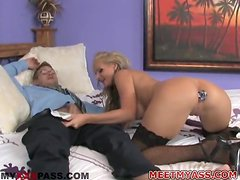 Busty blonde girl with a dildo in her ass gets fucked by a nerd