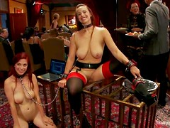 Severe bondage for two kinky booties Bella and Mickey