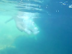 Nudists in the Crimea in 2011. Underwater girl.1