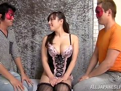 Asian babe Azusa gets pleased by two hungry studs