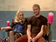Kinky Femdom Sex and Pegging in Bondage Video with Aiden Starr