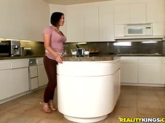 Lovely Brunette with Big Butt Brooke Lee Adams Fucked in the Kitchen