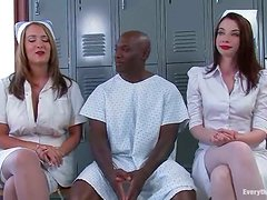 Two sexy nurses get pounded rough by Black dude