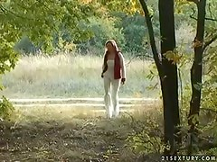 Slutty red-haired chic gives head to hard mini dick outdoor