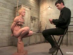 Short-haired blonde Dylan Ryan gets tormented by Maestro