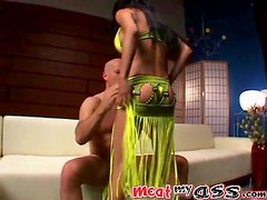 Alexis Amore sucks a schlong and gets her holes stunningly drilled