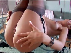 Stockings and garter belt are sexy on chick