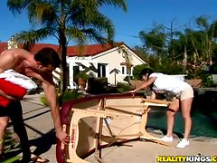 Petite Evie Delatosso gets fucked in a backyard