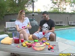 Chubby honey gets naked and fucked deep by the poolside