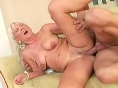 Ugly oldie with huge droopy ass provides a dude with a rimjob and blowjob