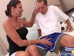 Busty Cougar Vanessa Videl Sucks Cock and Gets Hairy Pussy Drilled
