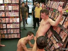 Evan Mercy lets his homosexual buddies drill his butt in a shop