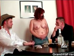 Mature loses at strip poker and gets naked