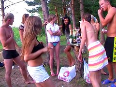 Hardcore outdoor student gangbang with cum-swapping