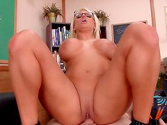 Blonde teacher gets hard fucked