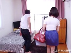 Petite Japanese girl takes a shower and gets nailed in a bedroom
