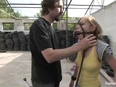 Fetish gangbang for a kinky blondie in the forgotten place