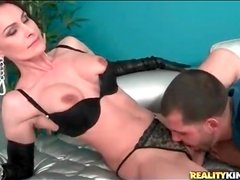 Kissing and licking classy slut in leather gloves