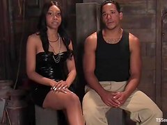 Lobo and hot shemale Sexy Jade have ardent sex in a cute BDSM clip
