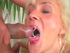 Emotionless ugly old blond whore gets fucked doggy rough on cam