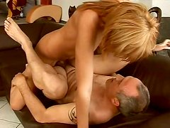 Long legged and light haired nympho gets banged from behind by gaffer