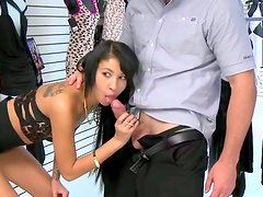 While her friends are shopping kinky long legged brunette sucks seller's cock