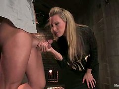 Face Sitting and Cock Teasing in Femdom and Bondage Session with Blonde