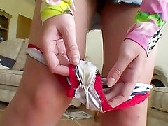 Beautiful girl shows her dirty smelling panties!