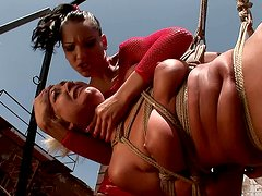 Crucified blond whore get crucified and taped in BDSM sex clip