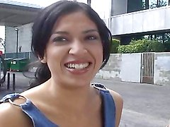 Latina with tiny love pillows gets picked up in the street