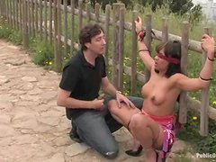 Delightful honey gets some cocks outdoors