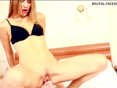 Skinny dominatrix sits hard on his face