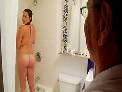 Young whore gives an amazing blowjob to an old man