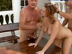 Chubby young slut fucking furiously outdoor in filthy MMF threesome