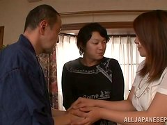 Banging Busty Japanese Mizuki Ann while Her Father Looks