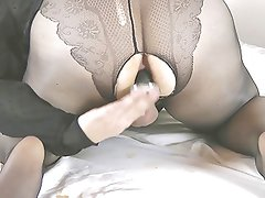 My fun in pantyhose with my dildo v7