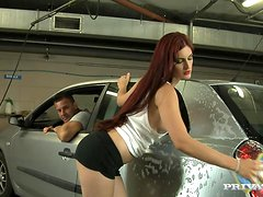 Mira Sunset gets her ass and cunt pounded hard in a garage
