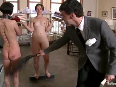 Two sex slaves toy and finger each other for their master