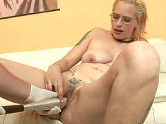 Dirty blond whore gets her pink pussy pounded with pressure with baseball batt