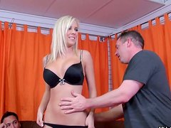 Talkative and hilarious blondie Britney Beth strips and boasts of big tits