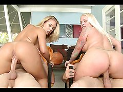 Coordinated hardcore sex in foursome with two blondes with big butts