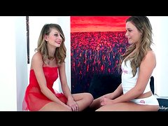 Two girls strip in cute interview video