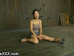 Lactating tits Asian babe with huge boobs gets flogged