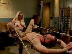 Pegging in Bondage Session by Naughty Aiden STarr in Femdom Vid